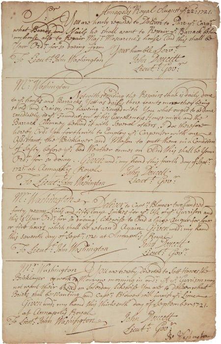 49007: [George Washington]. John Washington Document Si