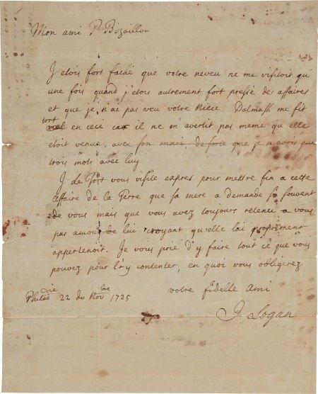 49009: [William Penn]. James Logan Autograph Letter Sig