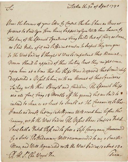 49010: [War of Jenkins' Ear] [Edward Vernon]. Ambassado