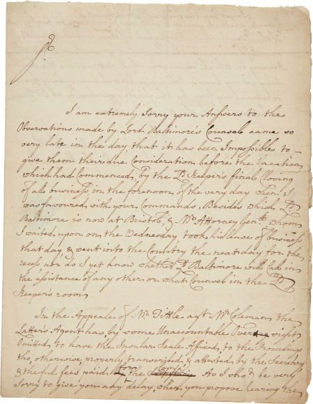 49013: [William Penn vs. Lord Baltimore]. Letter Concer