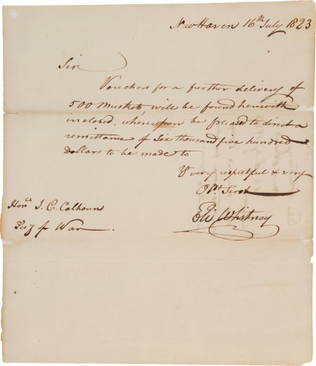 49016: Eli Whitney Autograph Letter Signed.  One page,