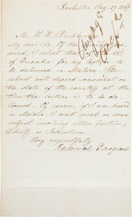 49022: Frederick Douglass Autograph Letter Signed. One
