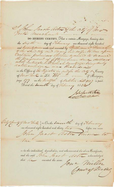 49023: John Jacob Astor Document Signed. One partially-