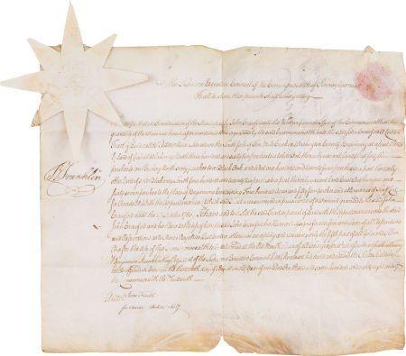 """Benjamin Franklin Document Signed """"B. Franklin"""""""