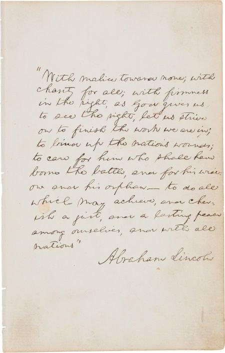 49127: Abraham Lincoln Autograph Manuscript Signed, the