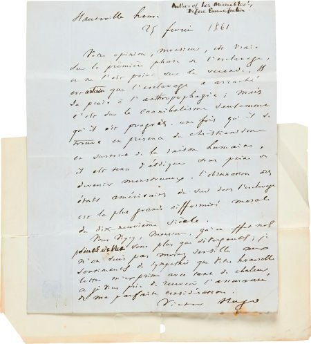 49188: Victor Hugo Autograph Letter Signed. One page of