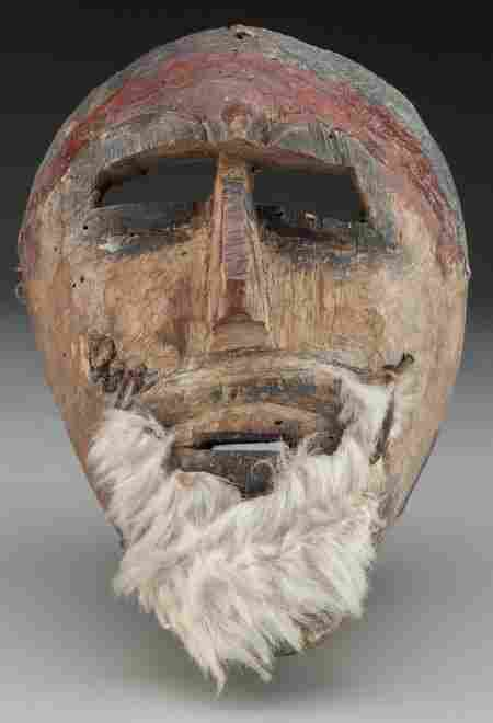Moor Mask, Mexican 20th c. wood, paint, hair,