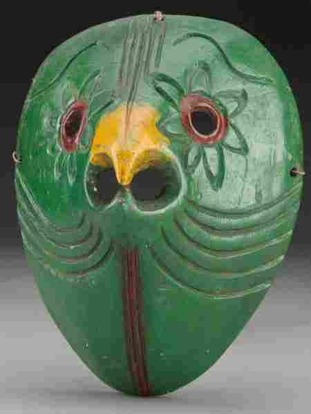 Parrot Mask, Mexican 20th c. wood, paint, cor