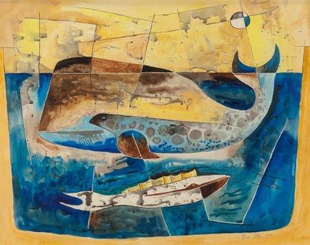 76034: Bror Utter (American, 1913-1993) Whales, 1954 Wa