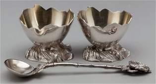 75273: A Pair of Gorham Partial Gilt Silver Egg-Form Op