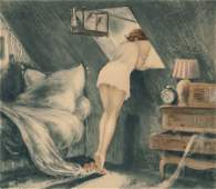 60131 Louis Icart French 18881950 Attic Room 1940