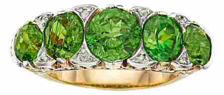 54185: Antique Demantoid Garnet, Diamond, Gold Ring  Th
