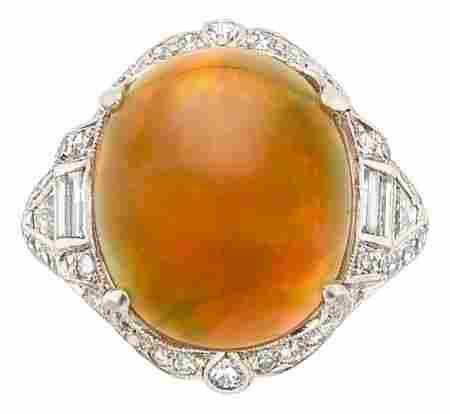 Art Deco Opal, Diamond, Platinum Ring The ring