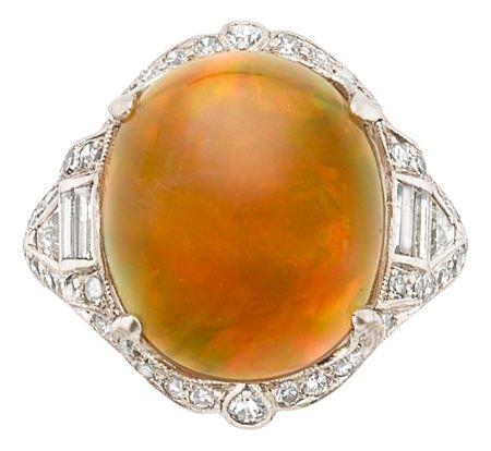 54190: Art Deco Opal, Diamond, Platinum Ring  The ring