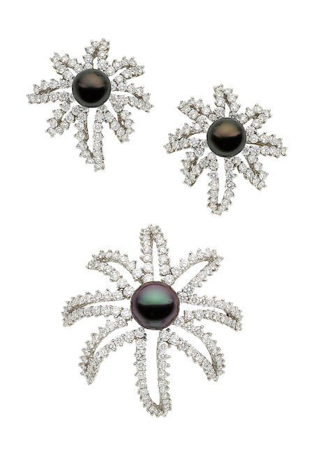 Cultured Pearl, Diamond, Platinum Jewelry Suite,