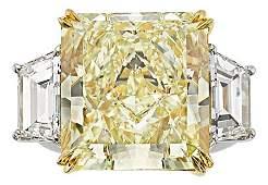 54395 Fancy Yellow Diamond Diamond Platinum Gold Ri