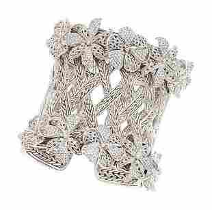 54407: Diamond, White Gold, Sterling Silver Bracelet, J