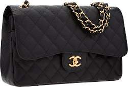 58244: Chanel Black Quilted Caviar Leather Jumbo Double