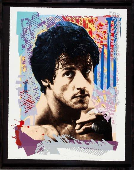 "89178: A Portrait Print of ""Rocky."" Framed colorful, po"