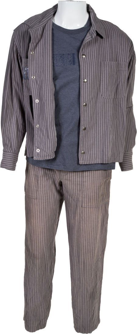 "89405: A Pair of Prison Uniforms from ""Escape Plan."" Su"
