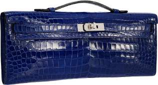 58022: Hermes Shiny Blue Electric Alligator Kelly Cut C