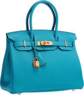 Hermes 30cm Turquoise Togo Leather Birkin Bag Wi
