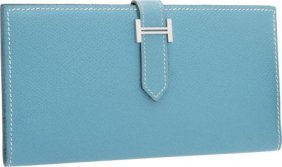 Hermes Blue Jean Epsom Leather Bearn Wallet With