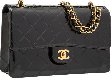 58106: Chanel Black Quilted Patent Leather Medium Singl