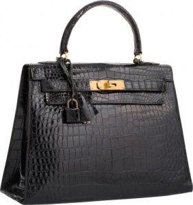 Hermes 32cm Shiny Black Crocodile Sellier Kelly