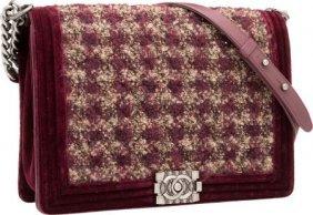 Chanel Burgundy Velvet & Tufted Boucle Boy Bag W