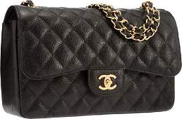 58111: Chanel Black Quilted Caviar Leather Jumbo Double