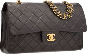 Chanel Black Quilted Lambskin Leather Medium Dou
