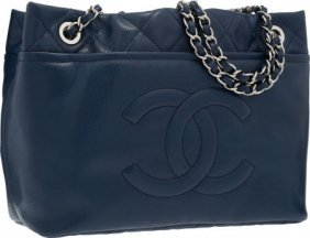 Chanel Blue Quilted Caviar Leather Shoulder Bag