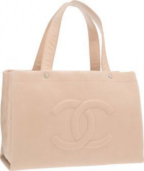 Chanel Beige Quilted Caviar Leather Tote Bag Wit
