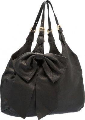 Valentino Red Black Leather Bowtie Shoulder Bag