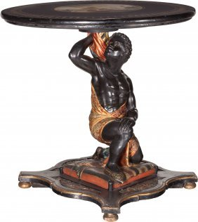 A Venetian Polychrome Blackamoor Table With Pain