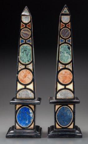 A Pair Of Italian Specimen Marble Obelisks, 20th