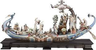 65180: A Large Lladro Polychrome Porcelain Figural Grou