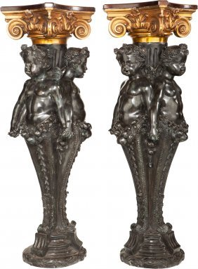 A Pair Of Continental Patinated Bronze, Copper A
