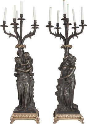 A Pair Of Large French Gilt And Patinated Bronze