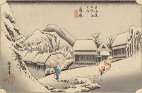Ando Hiroshige (japanese, 1797-1858) Snow At Mou