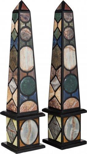 A Large Pair Of Specimen Marble Obelisks, 20th C