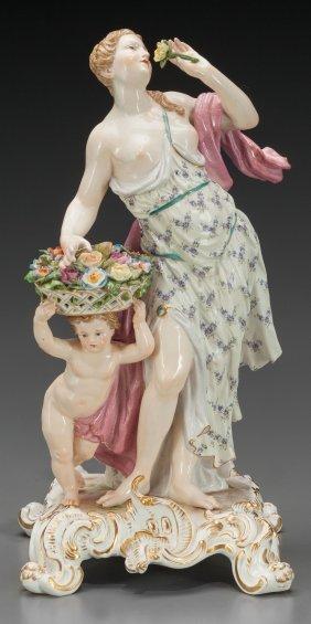 A Meissen Porcelain Figural Group: Maiden & Cupi