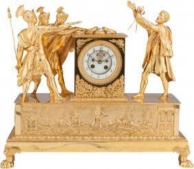 An Empire-style Gilt Bronze Figural Mantle Clock