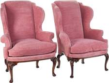 A Pair of George III-Style Upholstered Walnut Wi