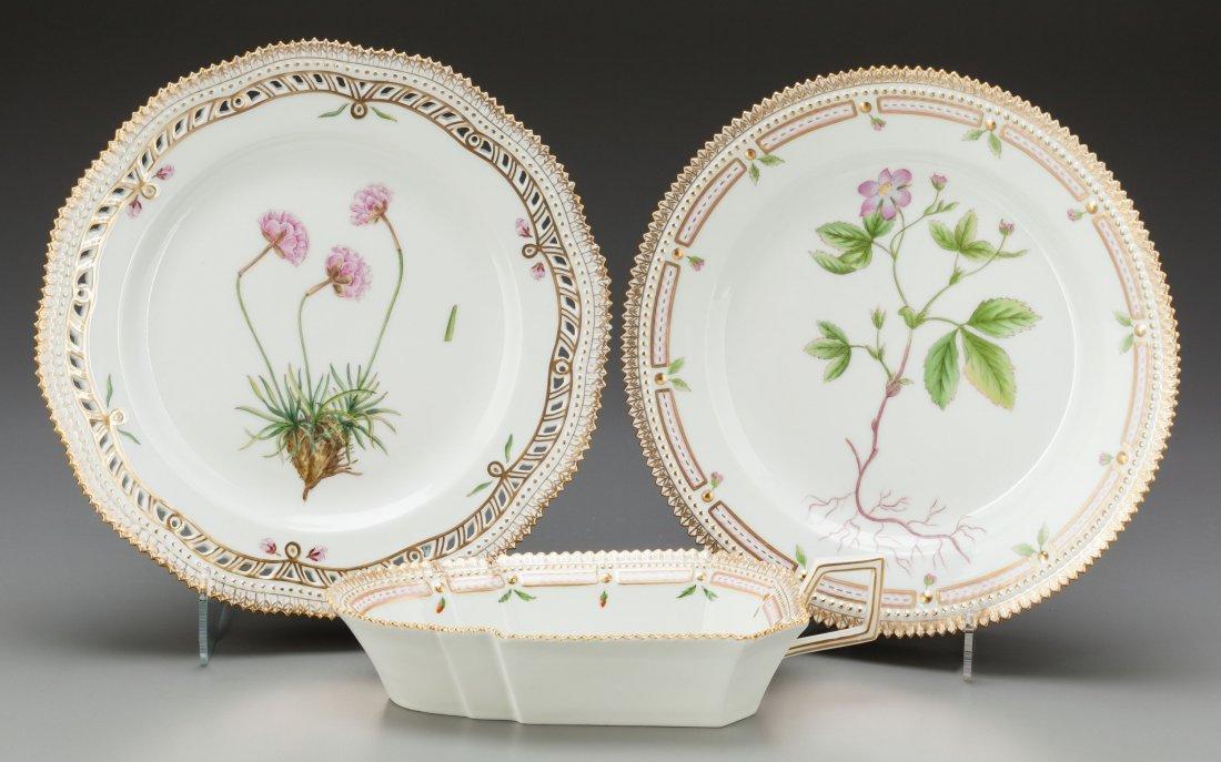 65127: Three Royal Copenhagen Flora Danica Pattern Porc
