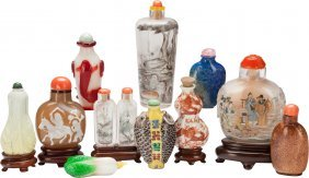 Eleven Chinese Figural Snuff Bottles 4-1/4 Inche