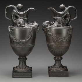 A Pair Of Wedgwood Basalt Wine And Water Ewers,