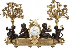 A Three Piece Louis Xvi-style Gilt And Patinated