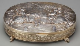 A German Silver Figural Table Box, Late 19th Cen